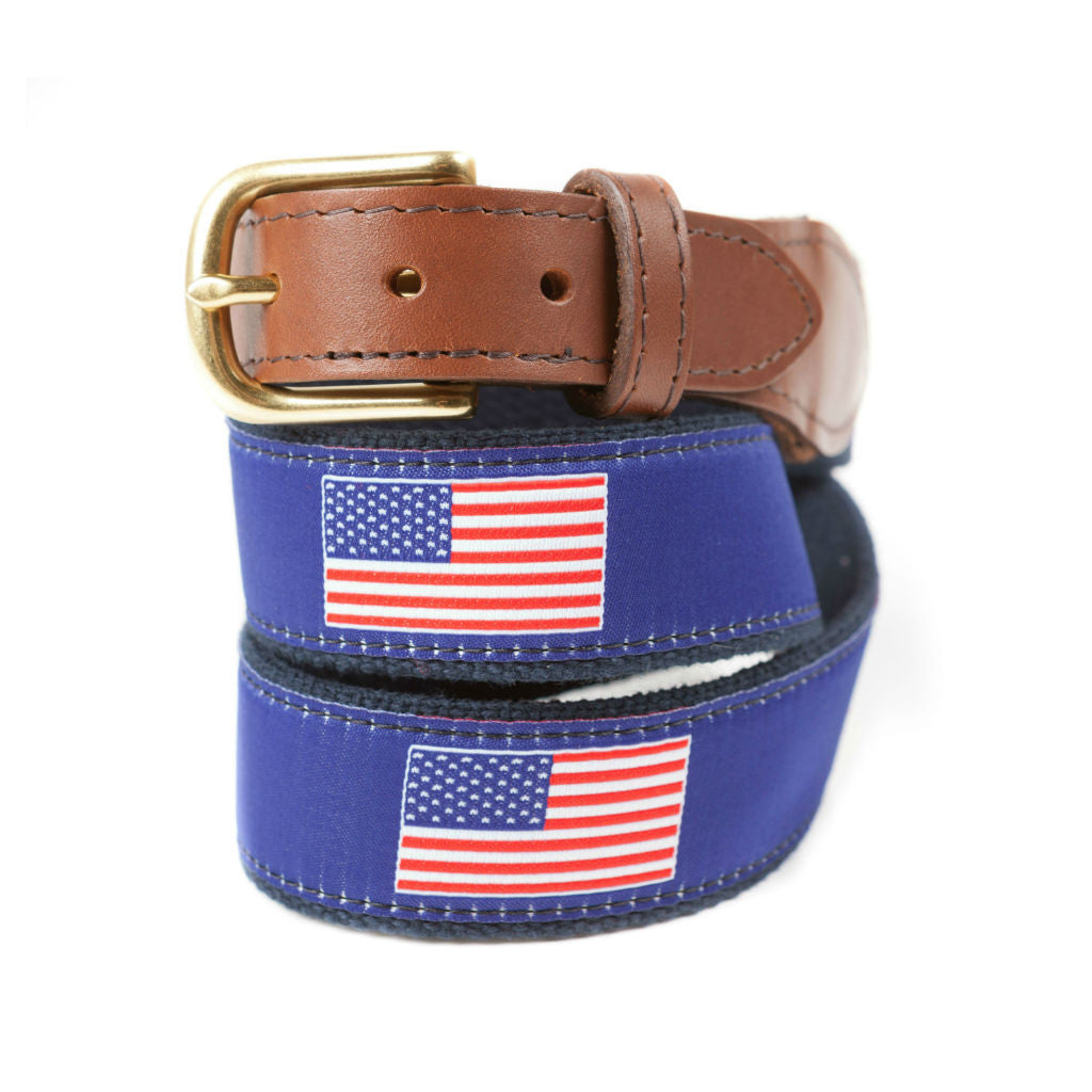 Preppy Ribbon Belts With American Flag