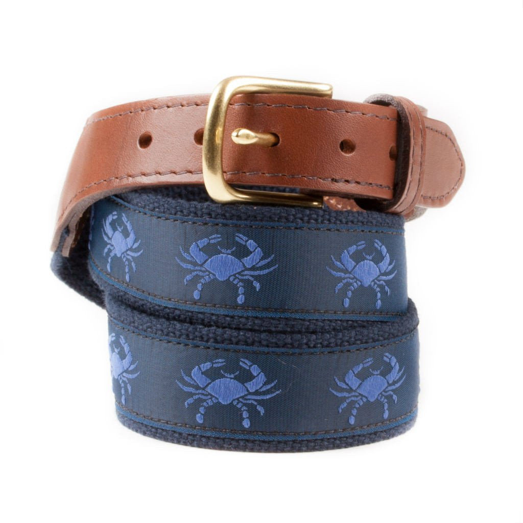 Fabric Belt for Men with Blue Claw Crab