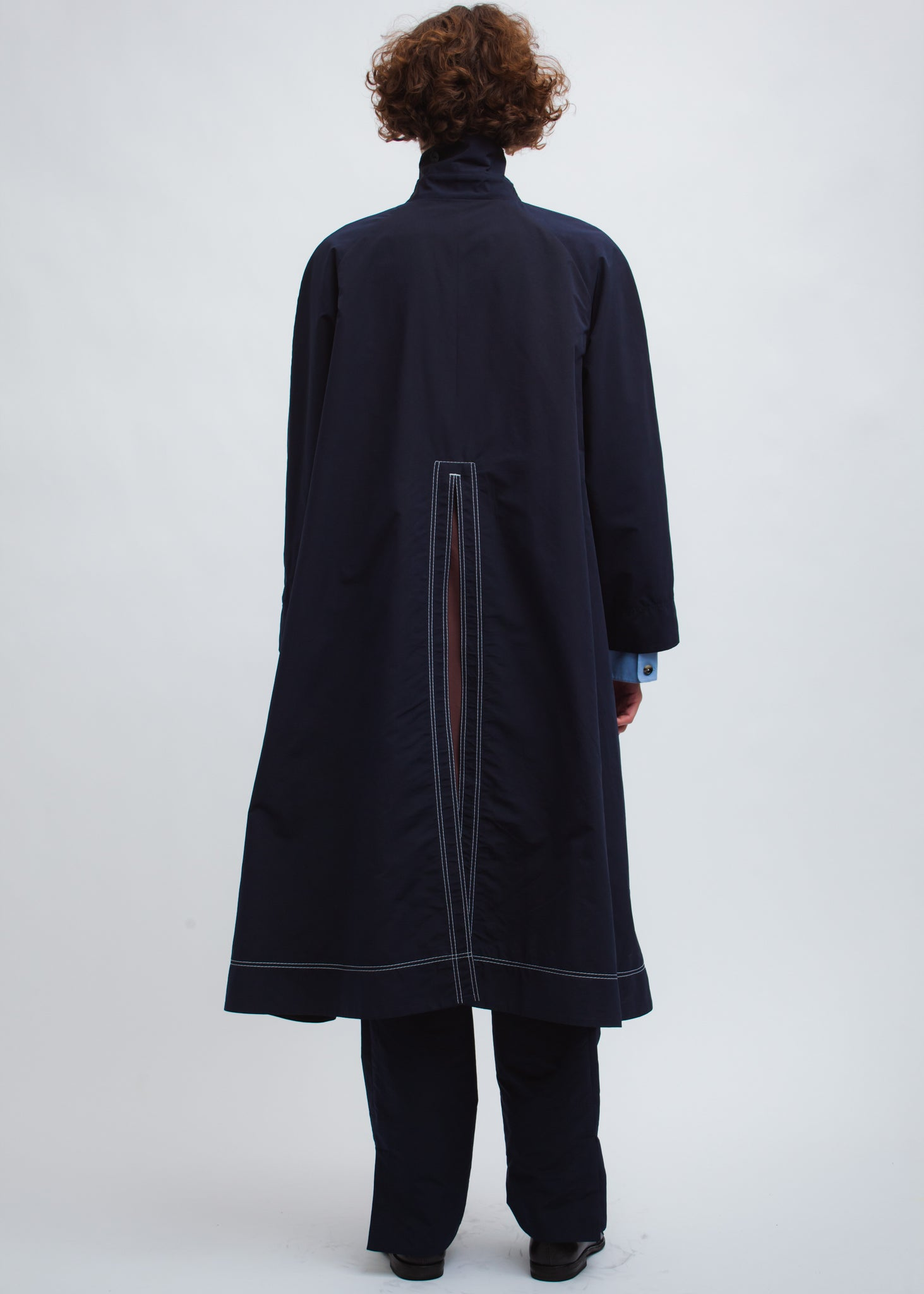 Omar Afridi Road Cover Coat (Navy with Bordeaux)
