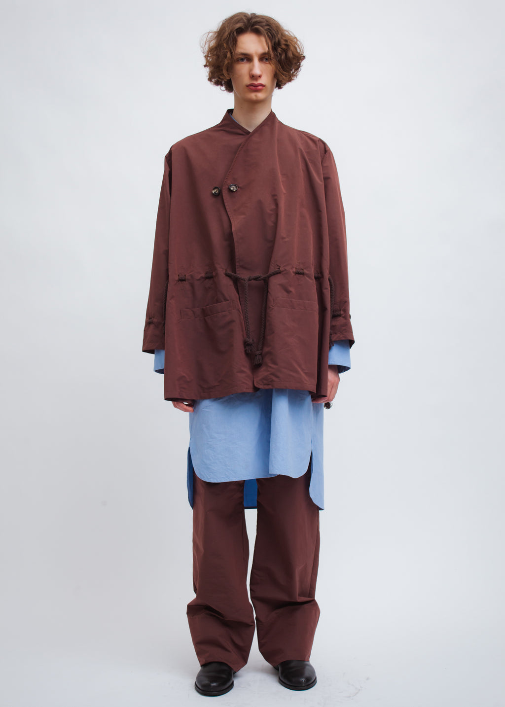 Omar Afridi Wrap Over Shirt (Tafta Brown)