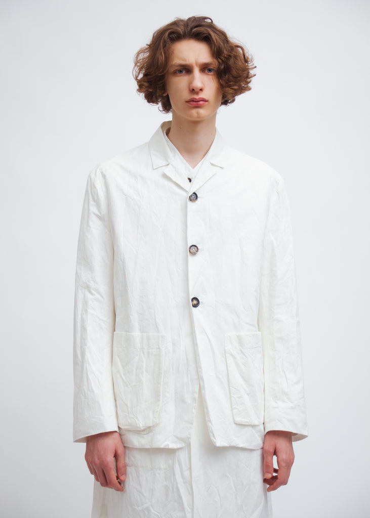 Omar Afridi Box Jacket (White Mid Weight Cotton)