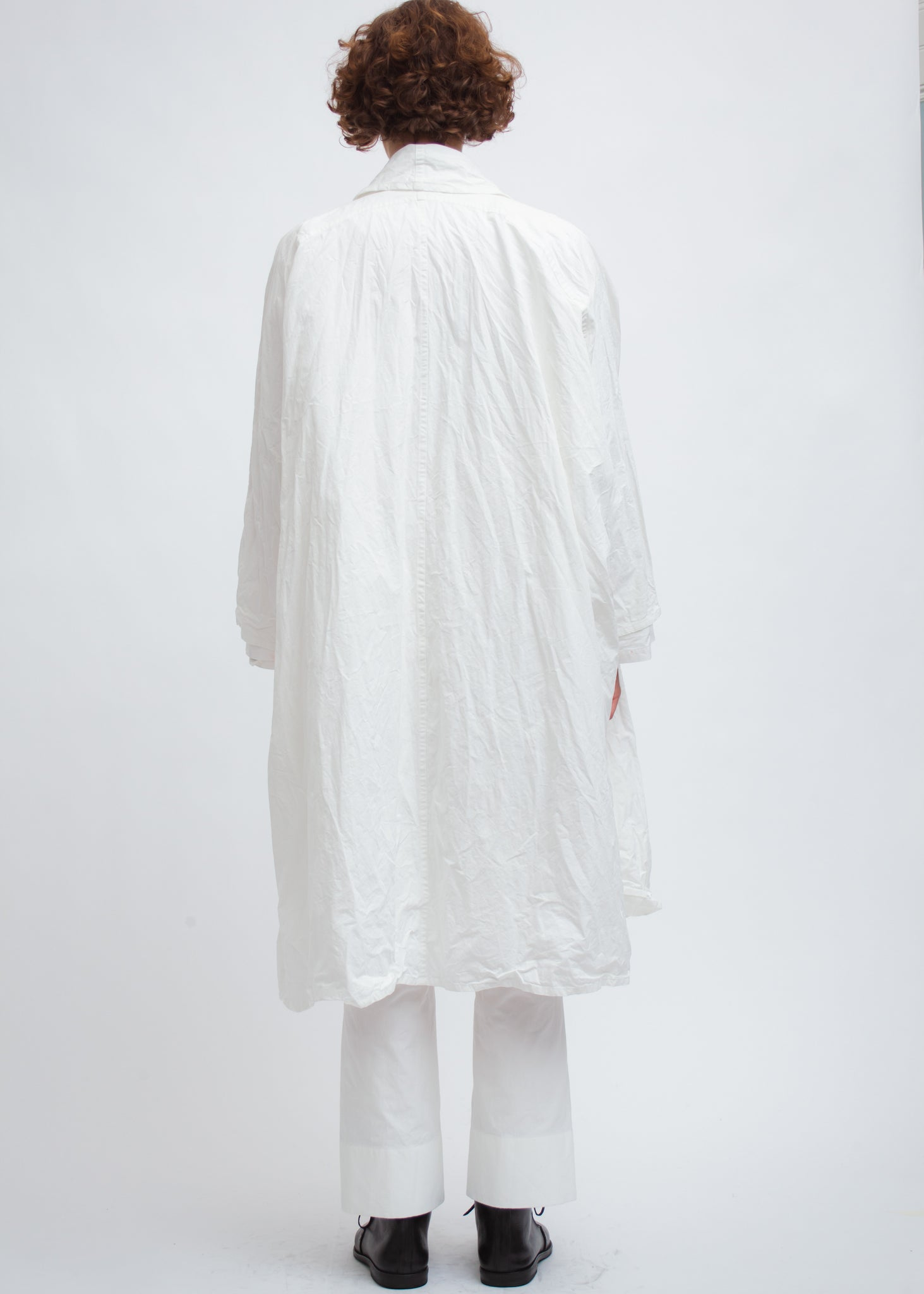 Omar Afridi Draped Layer Coat (White Mid Weight Cotton)