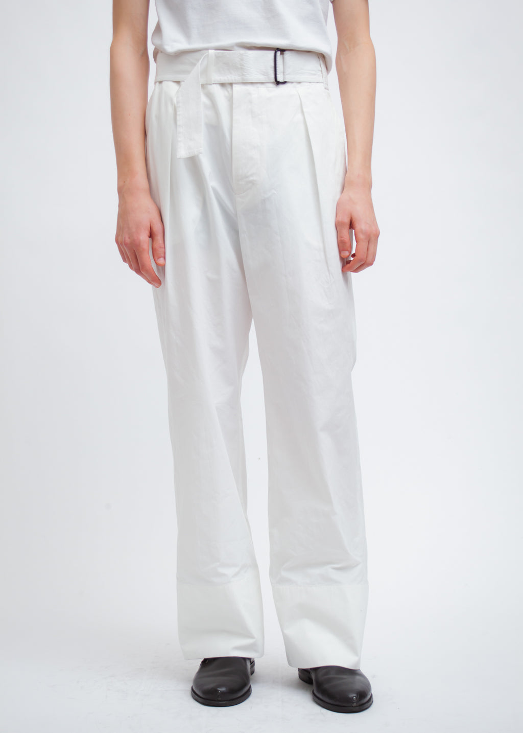 Omar Afridi Belted Dust Trousers (White Mid Weight Cotton)