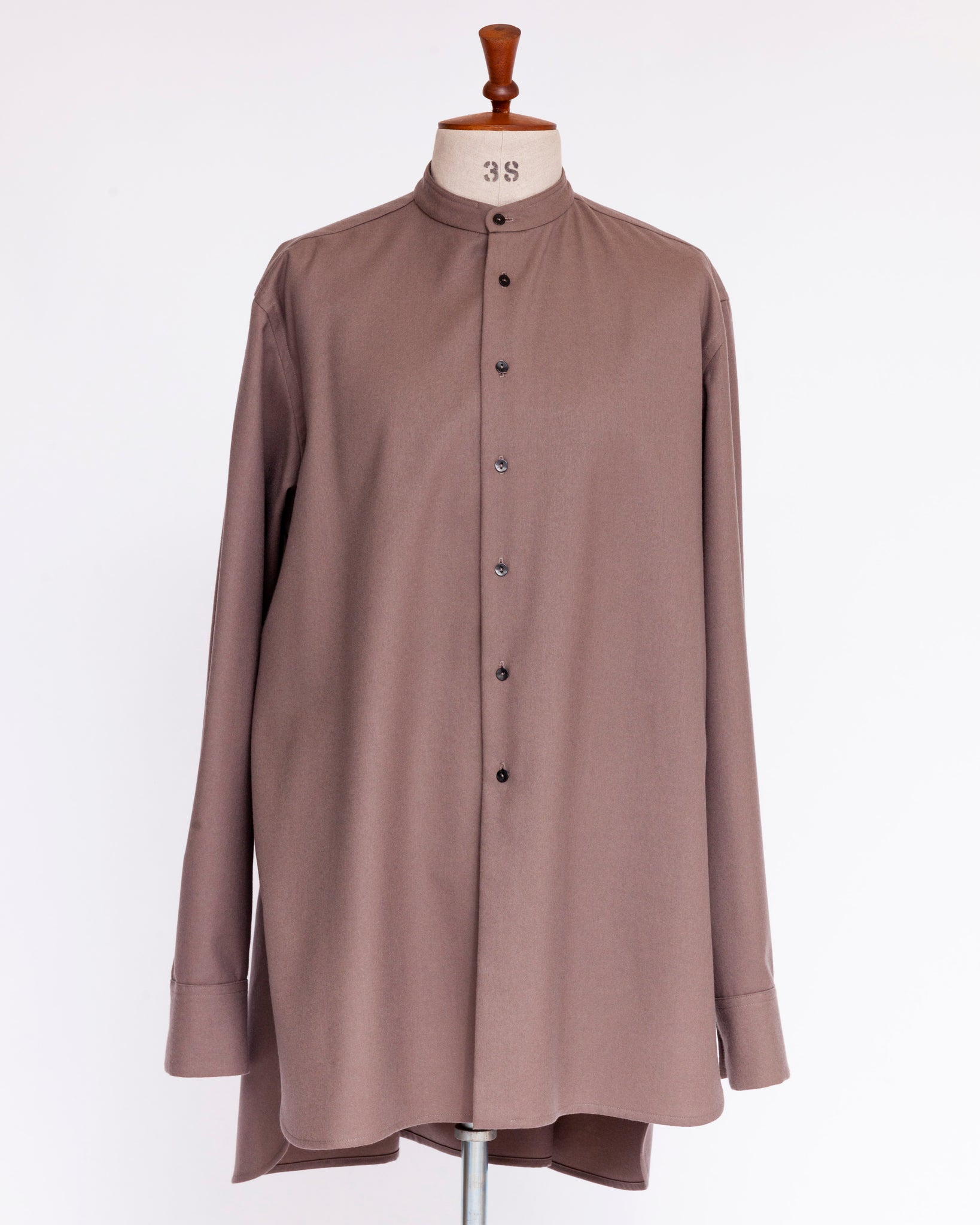 Omar Afridi No Collar Gathered Shirt Pink Grey Off Scale
