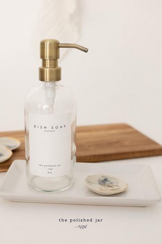 The Polished Jar Glass Soap Dispenser and Ring Dish on a Tray