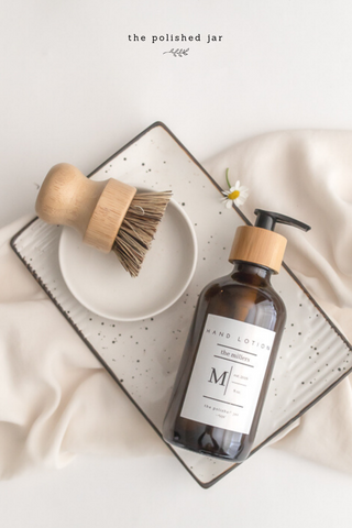Bathroom Tray with Brush, Ring Dish and The Polished Jar Monogram Glass Bottle Soap Dispenser