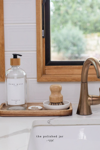The Polished Jar Glass Bottle Soap Dispenser, Wood Tray and Brush