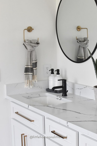 Marble Bathroom Countertop Decluttered and Organized With The Polished Jar Glass Bottle Soap Dispenser
