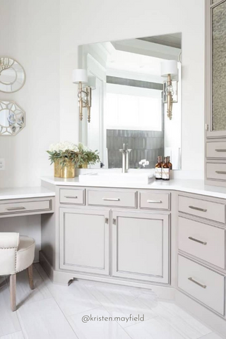 Bathroom Countertop Decluttered and Organized With The Polished Jar Glass Bottle Soap Dispenser