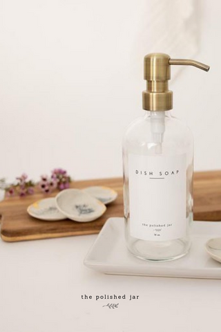 The Polished Jar Bathroom Tray, Glass Bottle Soap Dispenser and Ring Dish