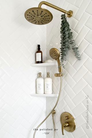 Modern Shower with The Polished Jar Reusable Soap Dispensers