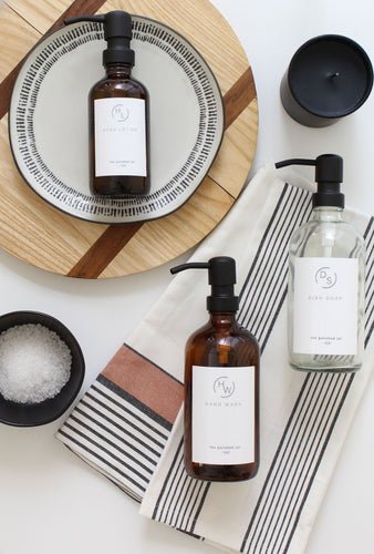 Hand Wash, Dish Soap, Hand Lotion | Minimalist Collection | Amber & Clear Glass