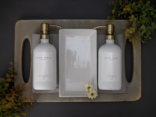 ::Bundle Package:: Kitchen Sink | Includes Hand Wash, Dish Soap Glass Bottles in Signature Collection + White Ceramic Tray