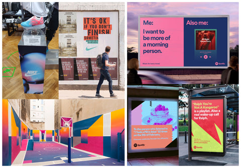 4 grid of image of marketing examples from Nike and Spotify