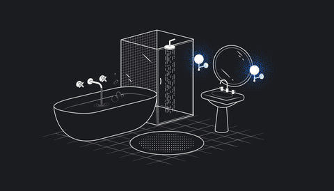 Graphic of a bathroom. Black background with white lines.