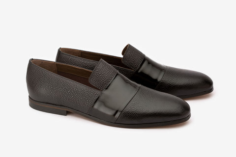 Pebble Grain Loafer With Patent Full Saddle
