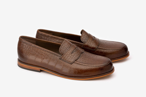 Croc Embosed Penny Loafer With Cord stiching on Vamp