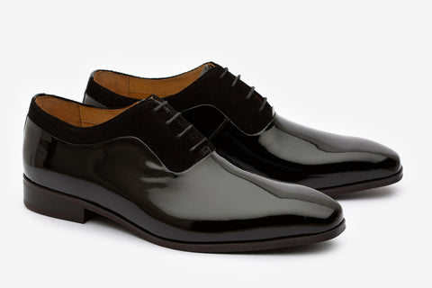 Twin Texture oxford pattent leather and Black suede