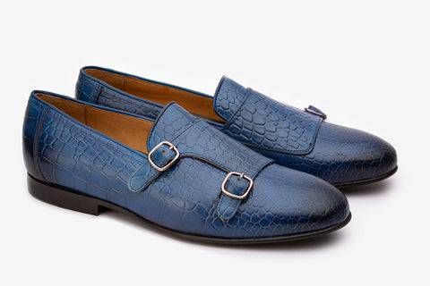 Double Buckle Croc Print Loafer