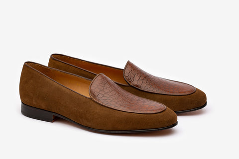 Twin Texture belgium loafer With Croc Embossed Apron