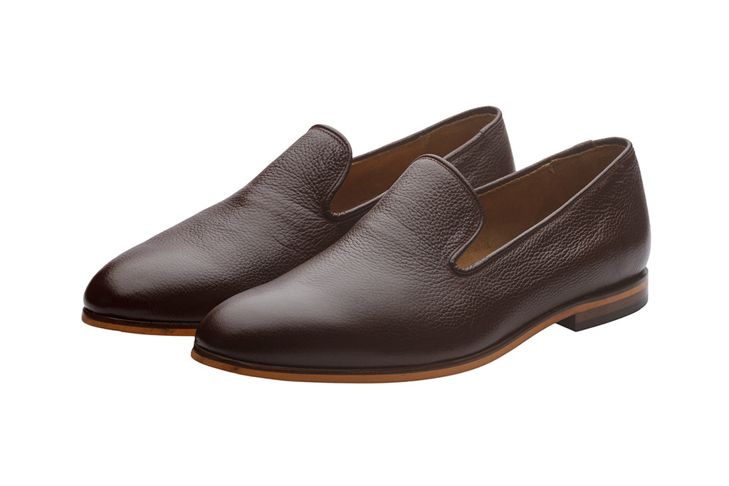Slip On Loafer-Mid Brown Grain