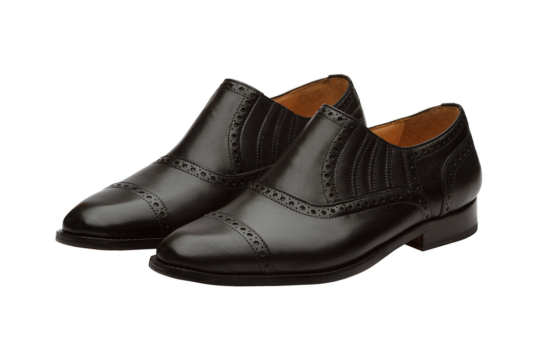 Diamond Toe Brogue Slipon – Black