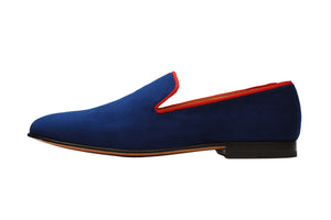 LOW HEEL WHOLE CUT VELVET LOAFER with Contrast Piping –BR