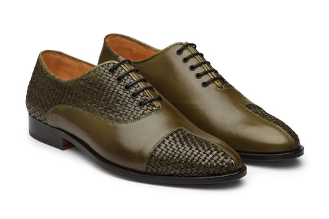 Woven & Plain leather combo oxford-OL