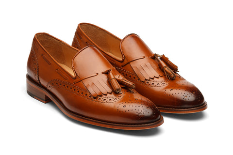 BROGUE WINGCAP KELTY LOAFERS- TAN