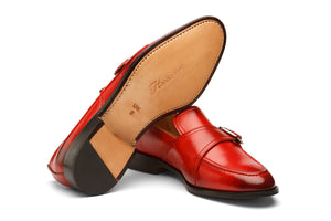 SLIP ON WITH ORNAMENTAL STRAP AND BUCKLE- RED