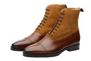 Combination Boots- Camel Suede & Medium Brown