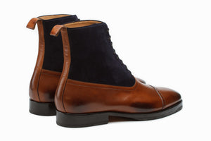Combination Boots-Navy Suede & Tan