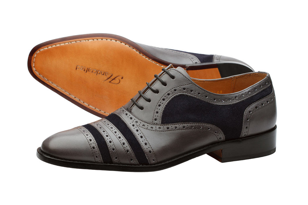 Super Brogue Oxford – Grey & Navy