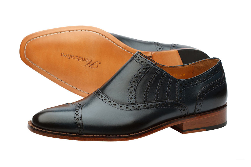 Diamond Toe Brogue Slipon - Navy