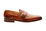 PLAIN VAMP SLIP ON WITH ORNAMENTAL STRAP AND BUCKLE -TAN
