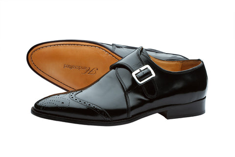 WING CAP SINGLE STRAP BROGUE MONK WITH MEDALLION- BRUSH OFF BLACK