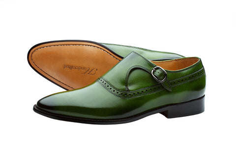 PLAIN TOE SINGLE STRAP BROGUE MONK– DARK GREEN