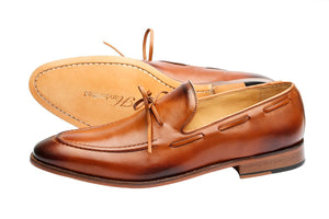 PENNY LOAFER WITH CORD STICH ON VAMP and ORNAMENTAL LACING – TAN
