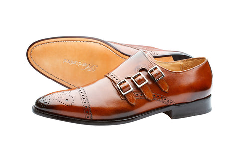 TOECAP TRIPLE STRAP BROGUE MONK– BRUNO