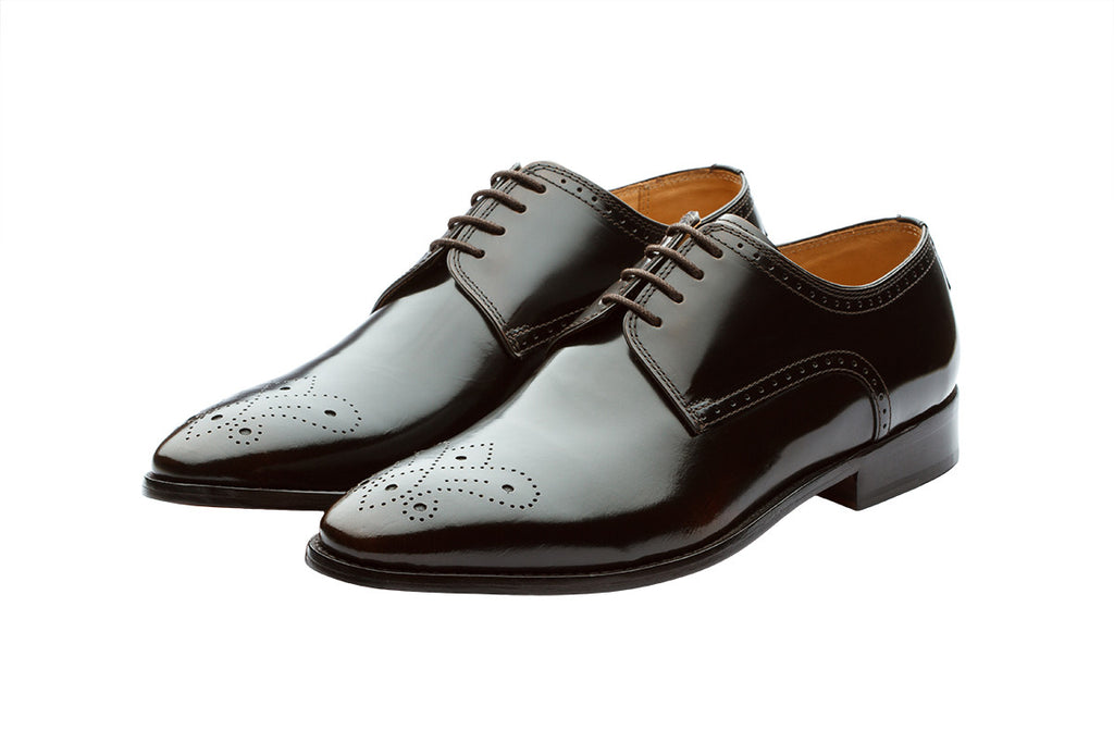 BROGUE DERBY WITH MEDALLION –BRUSH OFF BROWN