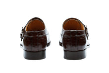 Load image into Gallery viewer, TOECAP DOUBLE STRAP MONK –CROC BROWN