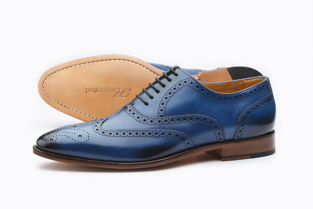 WINGCAP BROGUE OXFORD WITH MEDALLION-BLUE