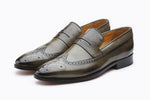 LONGWING SADDLE LOAFER WITH MEDALLION-GREY