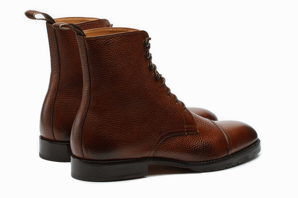 Grain Leather Boots –Medium Brown