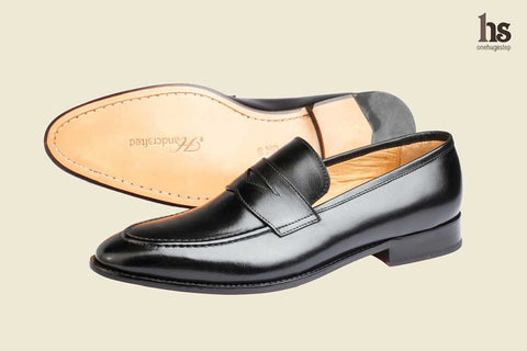 Penny Loafer With Cord Stich On Vamp – Black