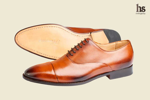 Toe Cap Pleated Oxford – Tan