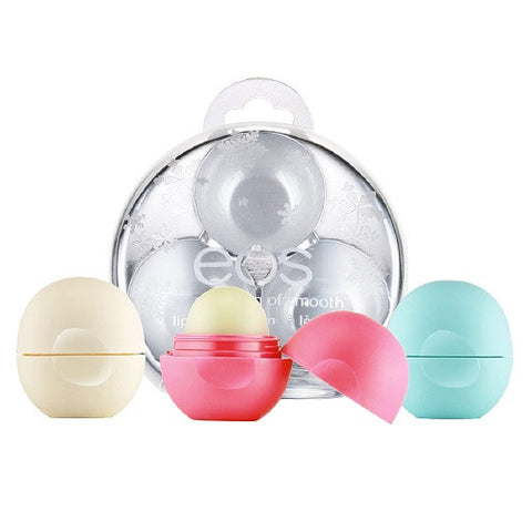 eos Smooth Lip Balm Sphere Holiday Ornament Gift 3-Pack, Assorted