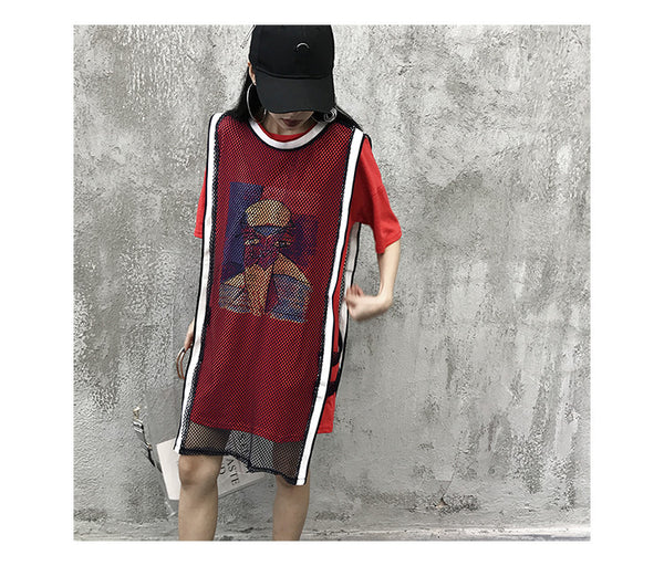 Vest Overlay Tee Set - Red