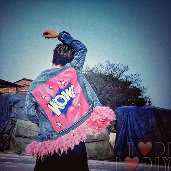 WOW Denim Jacket - Pink