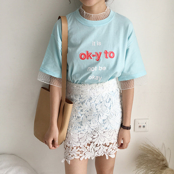 Lace Detail Tee - Blue